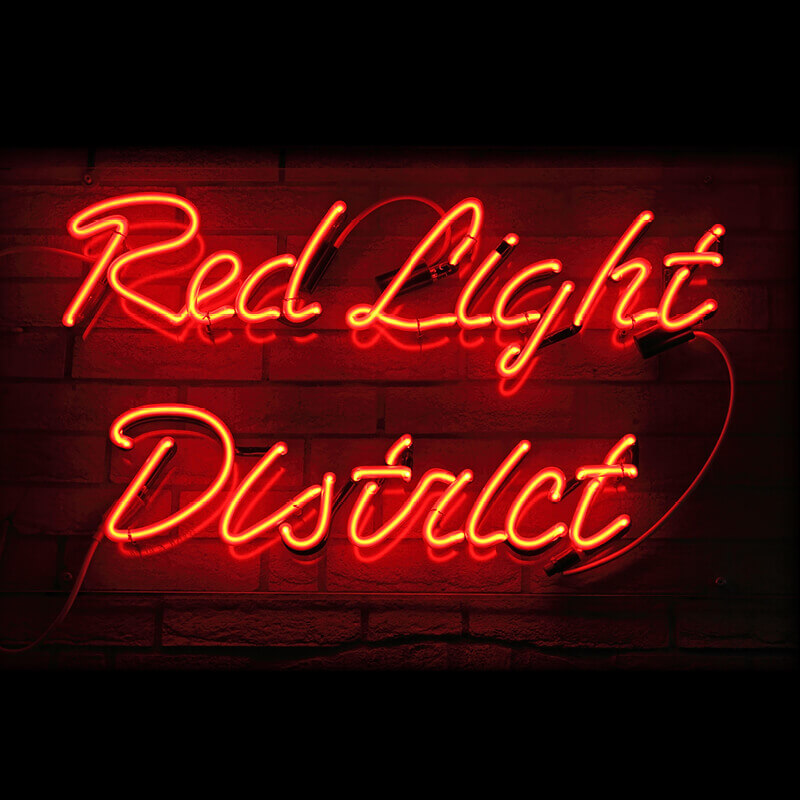 Neon sign of the Red Light District in Amsterdam.